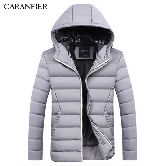 BYL caranfier length jacket mens hooded jackets smart casual Cotton (Gray)