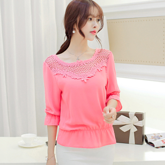 Caidaifei Korean-style New style elegant Plus-sized loose chiffon shirt (Pink color) (Pink color)
