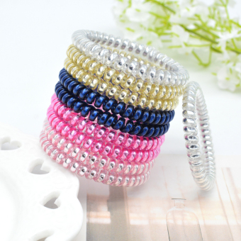 Candy color rubber band high elastic telephone line hair ring hair rope (# Metal bright 10 bar)