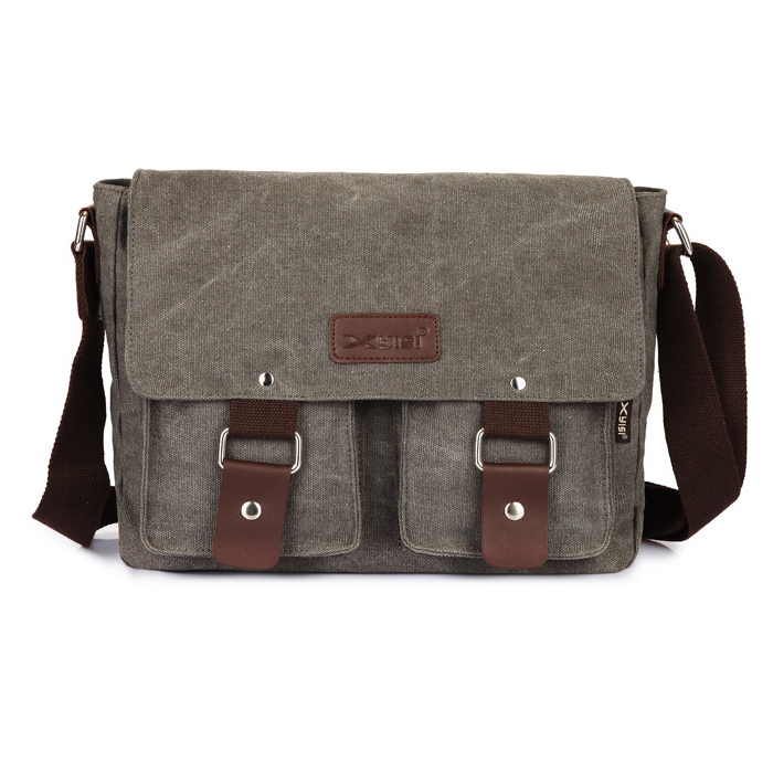 Canvas Messenger Shoulder Sling Bag for Men Students Grey | Lazada ...