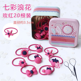 Cartoon iron boxed hairband cute hair band (Colorful spray-rose 20 Root)