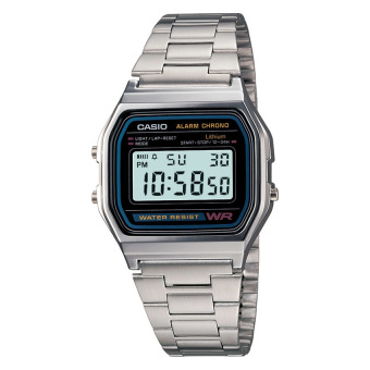 Casio Digital Men's Silver Stainless Steel Strap Watch A158WA-1D