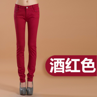 Casual candy stretch slimming pants women's pants (Wine red color)
