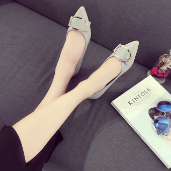 Casual female foot covering shoes New style flat shoes (Gray)
