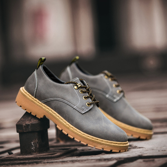 Casual New style autumn men's small leather shoes men shoes (Gray)