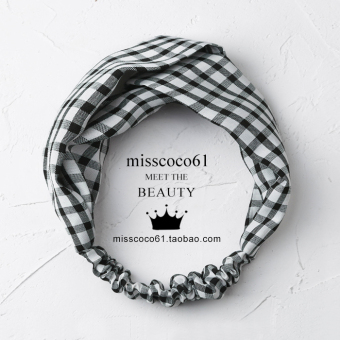 Chic indie female broadside cross hairband hair bands (F146-small black and white plaid) (F146-small black and white plaid)