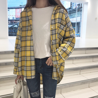Chic Korean-style New style slimming plaid long-sleeved shirt