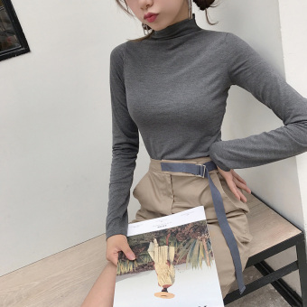 Chic retro solid color autumn elegant bottoming shirt (Gray)