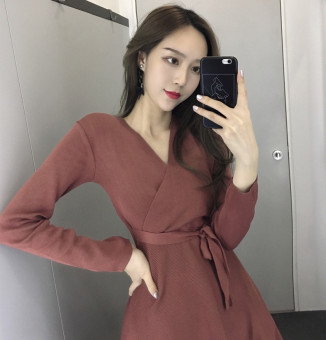 Chic retro style New style slimming dress (Brick red)
