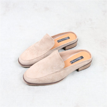 Chic suede early spring New style square head slippers (Beige)