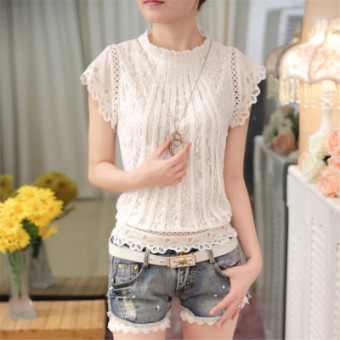 Chiffon lace shirt female New style Plus-sized T-shirt collar bottoming shirt (White short sleeved Models) (White short sleeved Models)