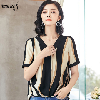 Chiffon shirt short-sleeved summer Loose and plus-sized cover the belly bottoming shirt Women's a word shoulder waist Top striped shirt (Black bar)