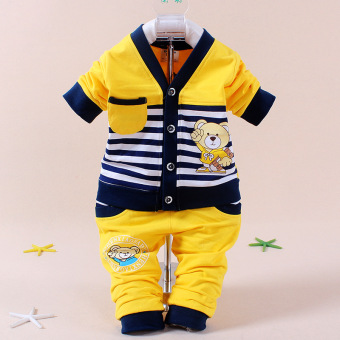 Children children's clothing Spring and Autumn long-sleeved suit boys baby tide male baby summer 0-1-2-3-year-old semi-baby clothes 6