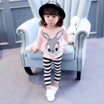 Children's clothing FEMALE baby Autumn suit baby clothes 1-3 yearold 4-6 girls spring models cotton hoodie two-piece Sets
