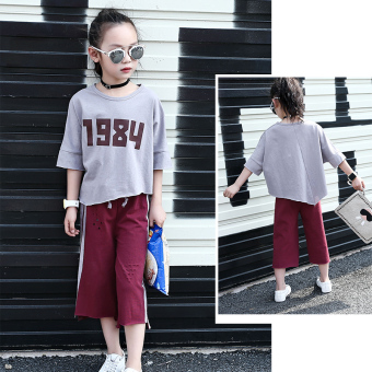 Children's clothing girls suit autumn dress 2017 New styleKorean-style fashion two-piece sets small girls cottonshort-sleeved t-shirt suit