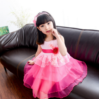 Children's veil New style small girl children's clothing summerdress (Rose) (Rose)
