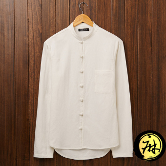 Chinese men's men's long sleeve collar plate buttons linen shirtvintage chinese style cotton long sleeve shirt male costume (CM06white linen)