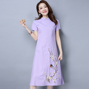 Chinese-style national style New style spring and summer women's skirt (Purple) (Purple)