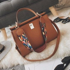 Click tote bag faux leather shoulder bag with tribal strap (Brown)