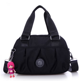 Cloth handbag hand bag New style tide nylon Oxford Cloth Bag casual shoulder diagonal Ms. small bag messenger bag (Black)