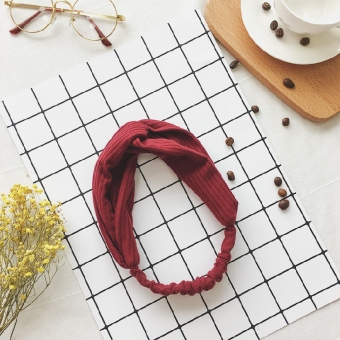 College style elastic hair bands sweet hair bands (Wine red color)