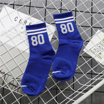 College style with numbers striped student baseball socks women's socks (With numbers-80)
