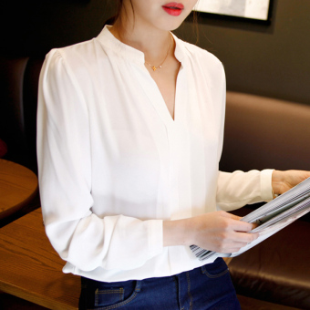 Color Diana 2017 autumn and winter new women's shirt Korean long-sleeved fashion casual short-sleeved shirt was thin chiffon shirt (Long sleeve white)