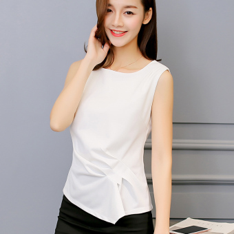Color Diana New style Slim fit sleeveless Korean-style solid color shirt