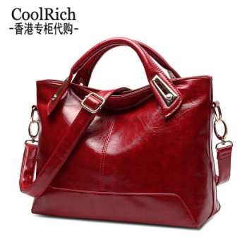 Coolrich Handbags New Style Stylish Women Bag Simple Handbag Shoulder Female Bag Big Bag Wild Messenger Bag (Wine Red To Send Clutch Bag + Card Package + Shipping Insurance)