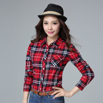 Cotton New style Slim fit long-sleeved plaid shirt