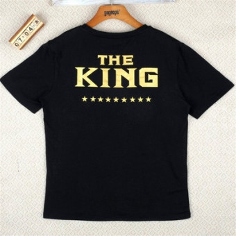 Couple Casual Letter-print Short Sleeve T-Shirt (Black king)