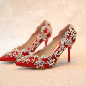 Crystal red thin heeled with dress shoes bridal shoes (7 cm) (7 cm)