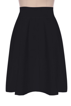 Cyber High Waist Ladies Women A-Line Pleated Midi Skirt (Black)