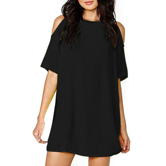 Cyber Women Off Shoulder Chiffon Loose Casual Mini Dress ( Black ) (EXPORT)