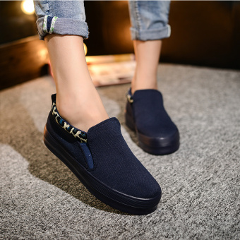 Easy Emperor versatile flat foot covering casual shoes canvas shoes (Dark blue)
