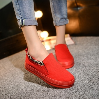 Easy Emperor versatile flat foot covering casual shoes canvas shoes (Red)