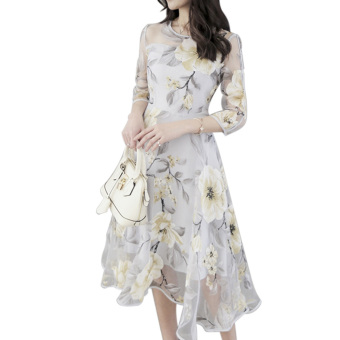 Elegant Women Organza Floral O-Neck Long Party Dress