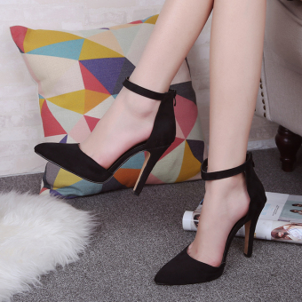 European and American spring New style pointed high-heeled shoes (Black)