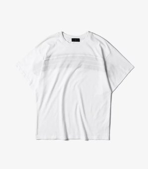 Every day special European and American street tide brand high street style simple striped stitching oversize loose short-sleeved t-shirt men (White)