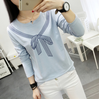 Female autumn New style v-neck bottoming shirt T-shirt (199 * Blue)