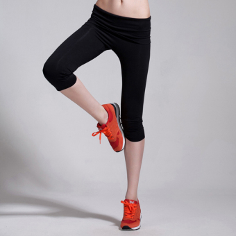 Female breathable slim fit running pants sports capris (Black) (Black)