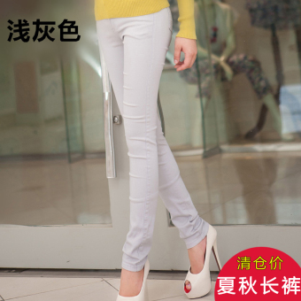Female candy color outerwear leggings pants (Silver)