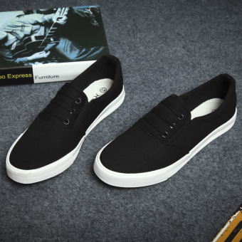 Female Plus-sized flat student white shoes Women's canvas shoes (Black) (Black)