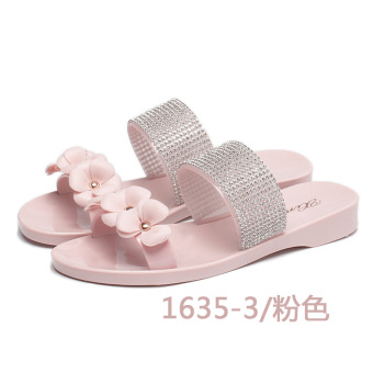 Female waterproof flowers crystal sandals (1635-3 pink)