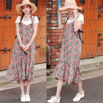Floral fresh New style mid-length Dungaree dress