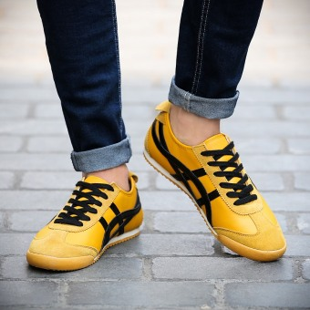 Forrest Gump men shoes ghost cut breathable tiger to help low shoes(Ouma 44 + Yellow) (Ouma 44 + Yellow)