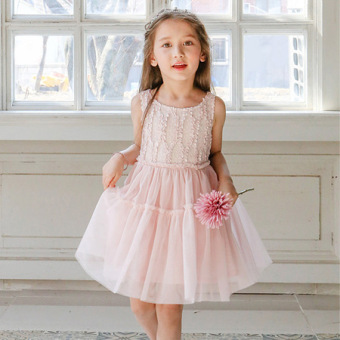 Girls dress summer 2017 New style princess dress children'ssleeveless high-end gauze Tutu big virgin child skirt (Pink color)