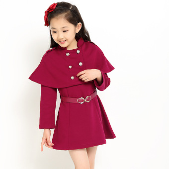 Girls mid-length spring New style autumn dress Top coat (Purplish red color) (Purplish red color)