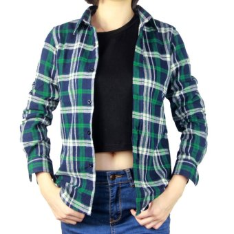Girls women Han Fan Slim fit Cotton Green long-sleeved shirt (A4green ladies plaid shirt) (A4 green ladies plaid shirt)