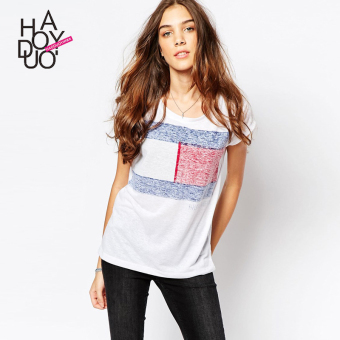 Haoduoyi2017 European and American New style contrasting color printed Slim fit short sleeved t-shirt